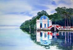 """""""Vizcaya Dock Gazebo 5x28"""" Watercolor on paper."""