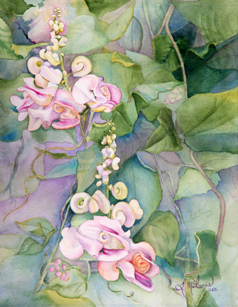 """""""Pastel Escargo"""" , 18x24"""" Watercolor on paper."""