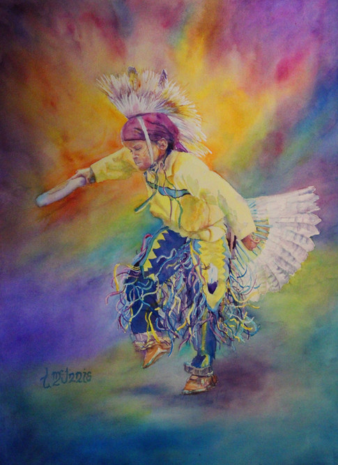 """""""Dancing Brave"""", 32x40"""" Watercolor on paper."""