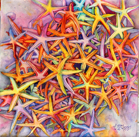 """""""Starfish""""  20X20"""" Watercolor on artist made canvas of WC paper."""