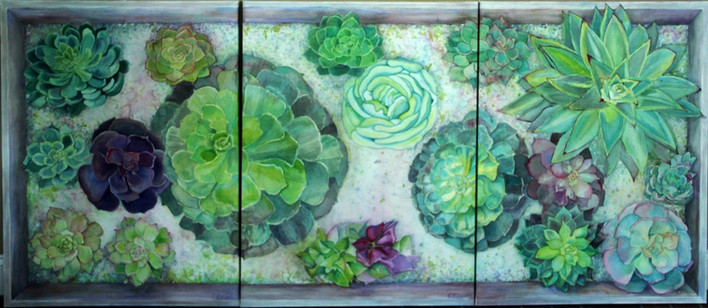 """""""Boxed Succulents"""" Private collection, 40x90"""" this is Triptic on artist made Canvas with WC papers."""