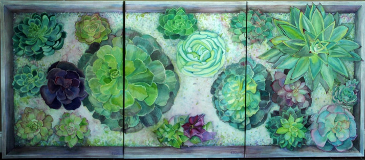"""Boxed Succulents"" Private collection, 40x90"" this is Triptic on artist made Canvas with WC papers."
