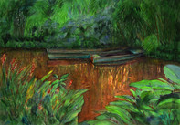 """""""Boats on Monet's Pond, 18x24"""" Watercolor on paper."""