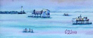 "Stiltsville Watercolor 12x20"""