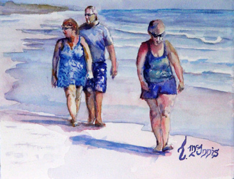 """People Watchers"", 14x16"" Watercolor on paper."