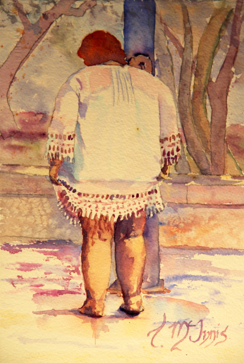 """""""Tess at the Footwash"""" 14x16"""" Watercolor on paper."""