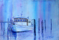 """""""Love in a Fog"""" Private Collection 32x40"""" Watercolor on paper."""