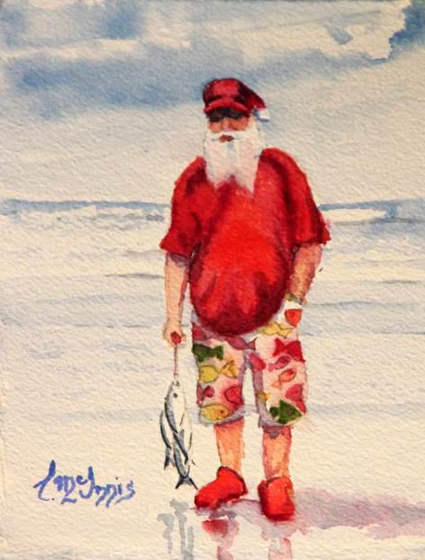 """""""Salty Santa"""" 7.5x10.5 inches and is Watercolor on paper."""