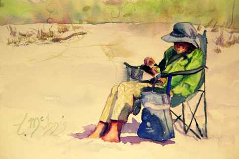 """Reading in Green"" 14x16"" Watercolor on paper."