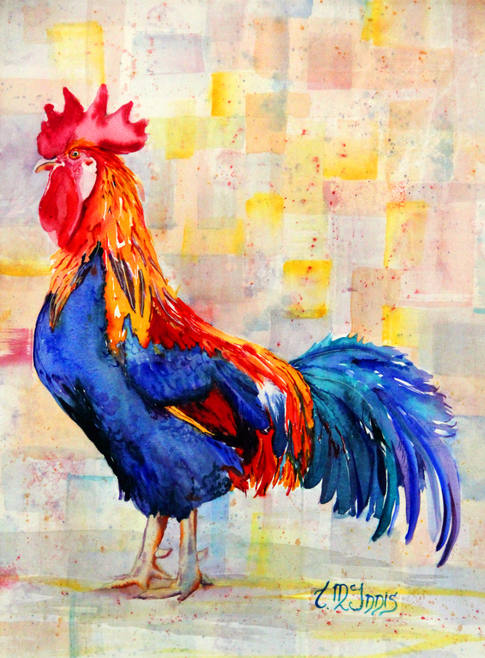 """""""Rooster Blue""""  18x24"""" Watercolor on artist made WC paper canvas."""