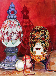 """""""Venetian mask & Glass Finial"""" SOLD 16x20"""" Watercolor on paper."""