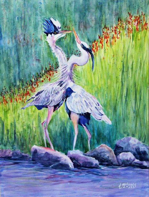 """Blue Heron Courtship"" , 22x30"" painted waterground cradle."