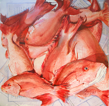 """""""Snappers in News""""  SOLD 28x28"""" Watercolor on paper.."""