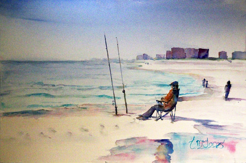 """Beach Chair Fishing"", 22x26"" Watercolor on paper."