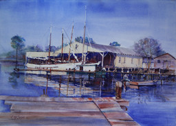"""Suspenceful Sailing Shrimpers""  36x28"" Watercolor on paper."