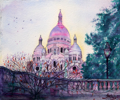"""Sacre-Coeur of Montmartre"" 15x19"" Watercolor on paper."