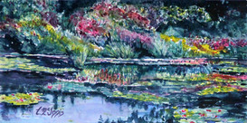 The Impressionist Pond  8x10 Watercolor