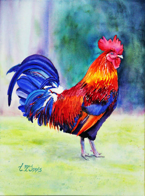 """""""Rooster Multi-Color"""" SOLD 8x24"""" Watercolor on artist made  WC paper canvas."""