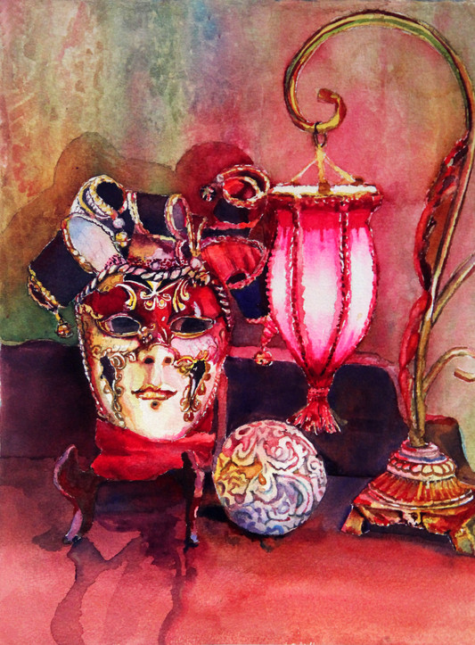"""""""Venetian mask with Lamp"""" SOLD 16x20"""" Watercolor on paper."""