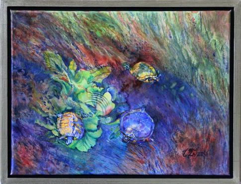 """""""Turkey Creek Turtles"""" , 21x26"""" Watercolor on artist made WC canvas."""