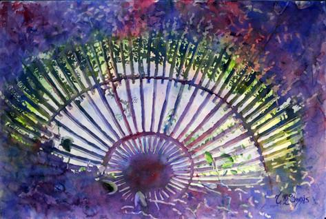 """""""Vizcaya Arbor Ceiling""""36x28"""" Watercolor on paper."""