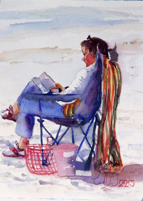 """""""A Good Read"""", 14x16 Watercolor on paper."""