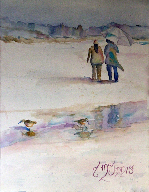 """Beach Combing Umbrella""  16x20"" Watercolor on paper."