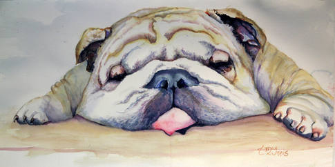 """""""Tuckered Out""""  29x18"""" Watercolor on paper."""