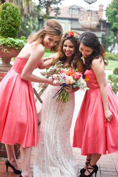 Bride and bridesmaids in pink dresses la