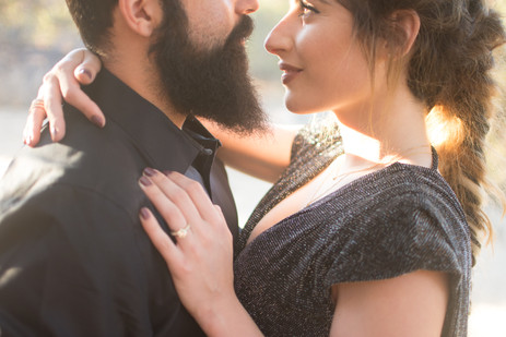 Close up of couple dressed in black