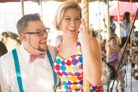 Colorful vintage pinup couple rides merr