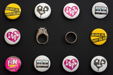 Wedding rings among punk rock buttons