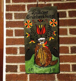 Hallicher Grundsaudaag! On slate $100 ❤#WilkumGrundsau #rachelyoderart #GrundsaudaagSeasonsSeries #c