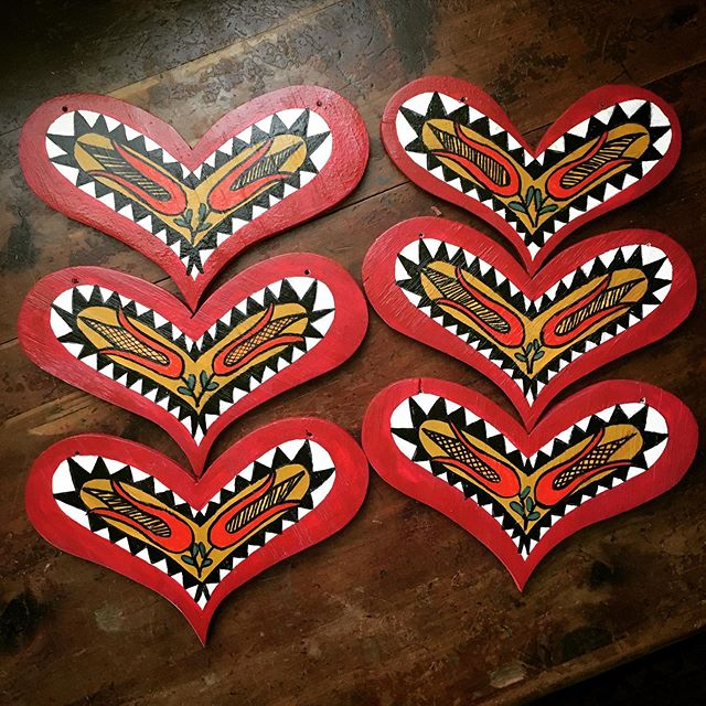 Folk spirit Fraktur inspired ornaments o