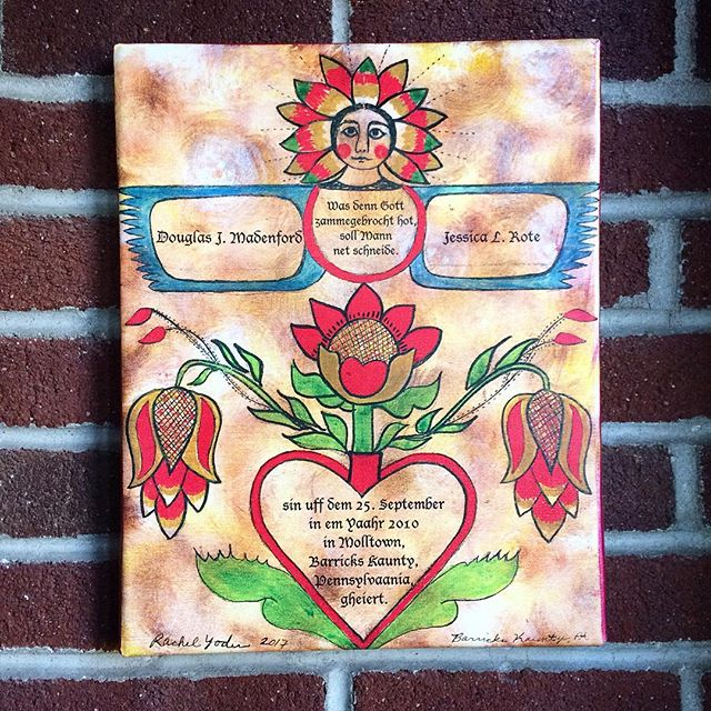 My first marriage fraktur ❤ #rachelyoderart #deitschartist #paintingallday #folkart #fraktur #brushp