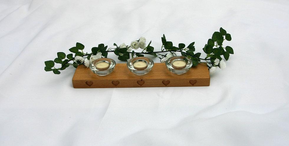 Oak Heart 3 T light Candle Holder
