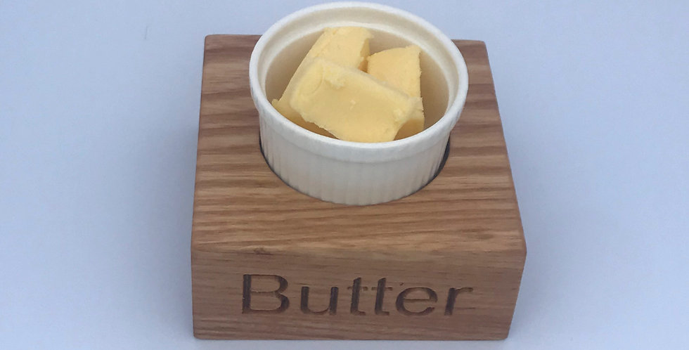 Ash wood and porcelein condiment butter dish