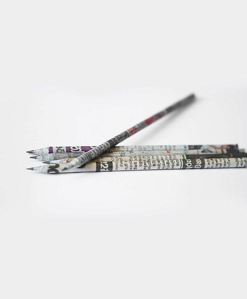 Pack of 5 Newspaper Waste Pencils - Μολύβια Από Χαρτί Εφημερίδας