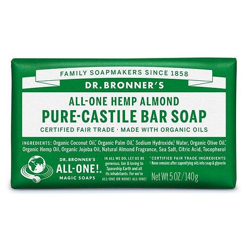 Dr. Bronner's Pure Castile Bar Soap Almond - Αγνό Σαπούνι Καστίλης Σε Μπάρα