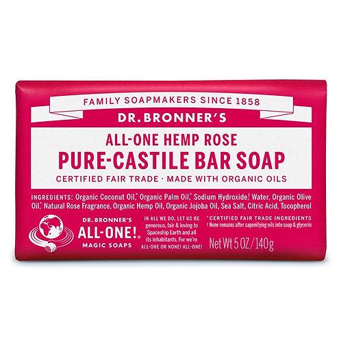 Dr. Bronner's Pure Castile Bar Soap Rose - Αγνό Σαπούνι Καστίλης Σε Μπάρα