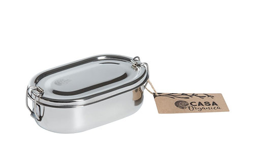 Stainless Steel Oval Snack Box With Clip - Φαγητοδοχείο Από Ανοξείδωτο Ατσάλι