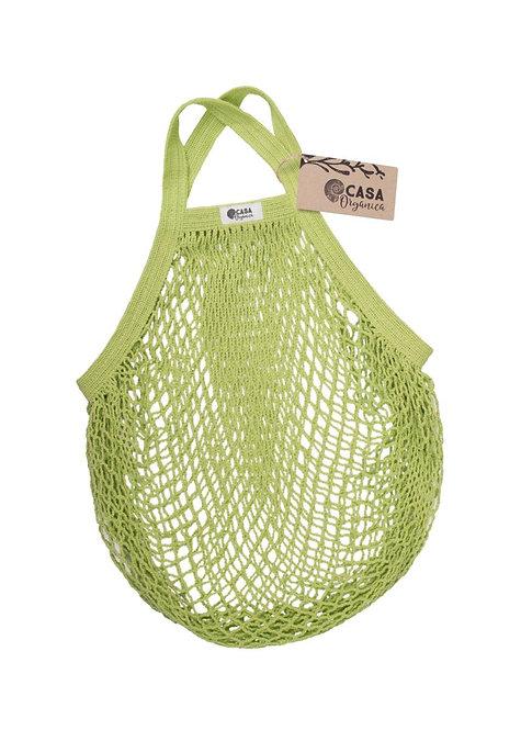 Net Bag / Τσάντα Δίχτυ Από Οργανικό Βαμβάκι Με Κοντή Λαβή - Lime