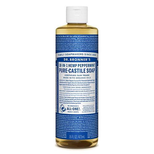 Dr. Bronner's Pure Castile Liquid Soap Peppermint - Αγνό Υγρό Σαπούνι Καστίλης