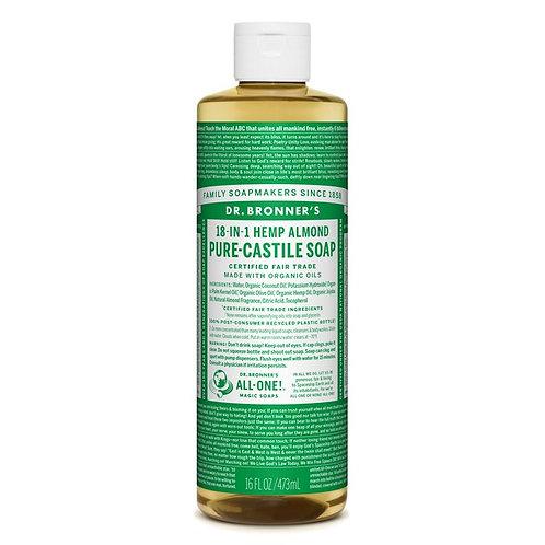 Dr. Bronner's Pure Castile Liquid Soap Almond - Αγνό Υγρό Σαπούνι Καστίλης