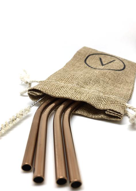 Stainless Steel Straws Rose Gold - Set 4 Ανοξείδωτα Καλαμάκια Καμπύλα Με Πουγκί