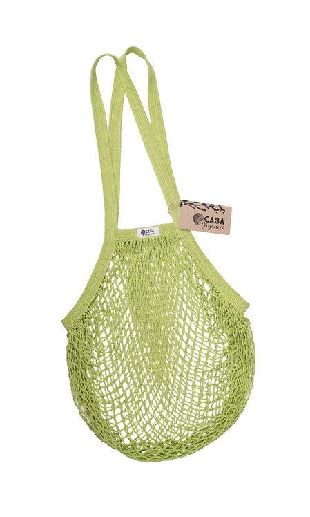 Net Bag / Τσάντα Δίχτυ Από Οργανικό Βαμβάκι Με Μακριά Λαβή - Lime