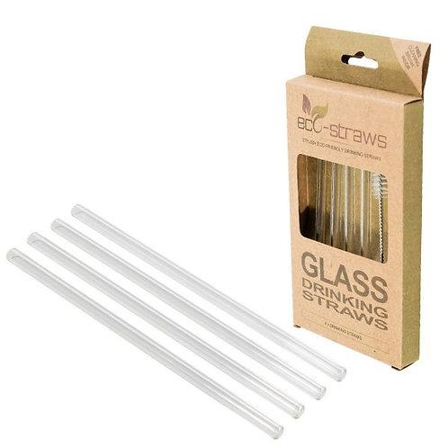 Glass Drinking Straws - Set 4 Γυάλινα Καλαμάκια Ίσια - Κοντά