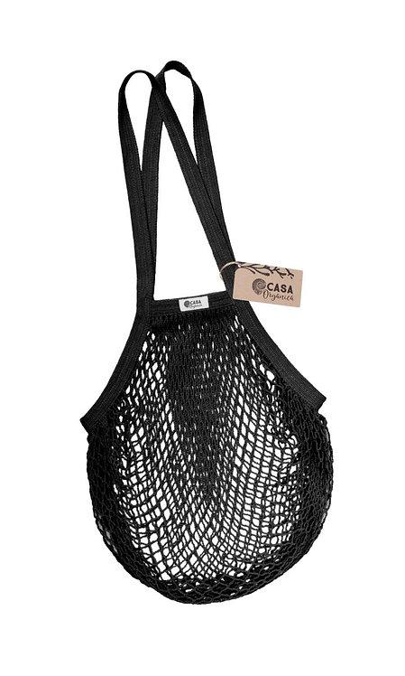 Net Bag / Τσάντα Δίχτυ Από Οργανικό Βαμβάκι Με Μακριά Λαβή - Black