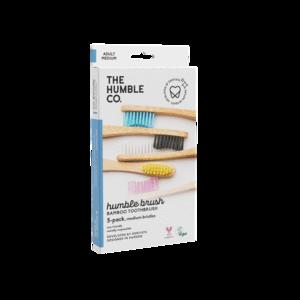 Humble Brush Adult Medium x 5 - Οδοντόβουρτσα Μπαμπού Ενηλίκων Συσκευασία Family