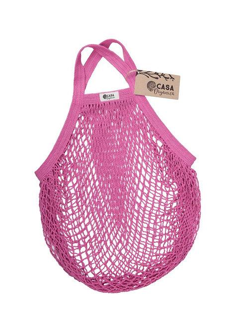 Net Bag / Τσάντα Δίχτυ Από Οργανικό Βαμβάκι Με Κοντή Λαβή - Raspberry